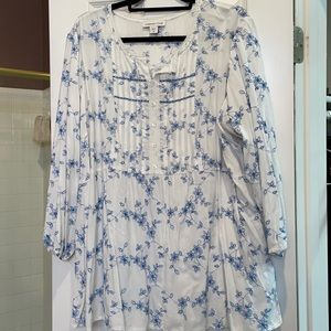 3x coldwater creek blue embroidered tunic
